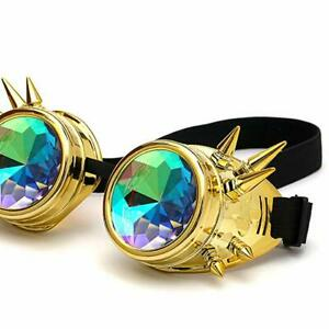 Kaleidoscope Steampunk Goggles Crystal Lens Adjustable Party Glasses Gold Spikes