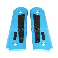 Airsoft Aluminum Stippling Pistol Grip Cover For Marui M1911 M.E.U. Blue/Black