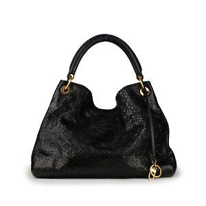 $12600 LOUIS VUITTON Artsy MM Black Monogram Python Leather