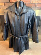 Wilsons Black Leather Long Jacket Trenchcoat Parka Mens Size Large