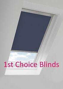 BLACKOUT THERMAL SKYLIGHT BLUE ROLLER BLIND FOR VELUX ROOF WINDOWS ALL SIZES