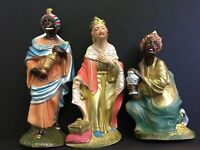 "Vintage Poloron 3 Wise Men Nativity Japan 12"" Magi Plastic Christmas Creche"