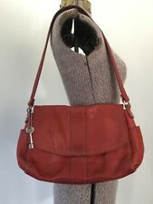 VTG KEY FOSSIL RED PEBBLED LEATHER PURSE HANDBAG SILVER ORGANIZER SATCHEL 6 SECT
