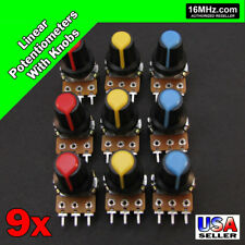 9x Linear Potentiometer Assortment 1K 2K 5K 10K 20K 50K 100K 500K 1M w/ Knob U86