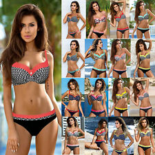 Womens Bikini Set Padded Bra Crease Bandeau Swimsuit Beach Swimwear Bathing Suit
