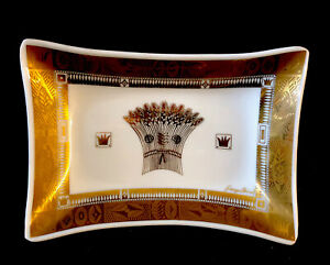 22 K SIGNED GEORGES BRIARD WHITE & GOLD WHEAT HARVEST PLATE