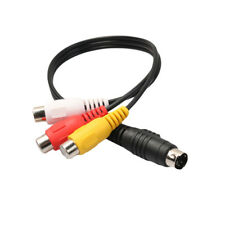 HK- 4-Pin S-Video to 3 RCA Female TV Adapter Audio Video Connector Cable Surpris