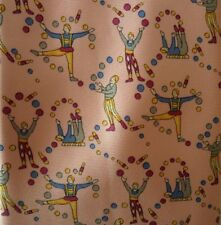 Pink 100% Pure Silk Tie with Circus Juggler Design