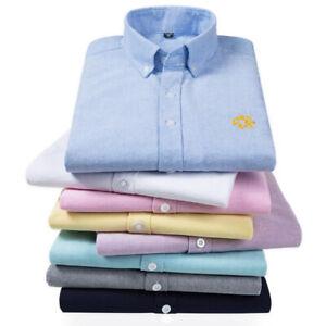 Men's Casual Oxford Shirt Button Down Collar Long Sleeve Shirts Slim Fit GS01