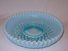 "Fenton Diamond Lace or Vesta Cupped Bowl  9 1/2"" Blue Opalescent 1949-1954"