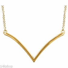 "NEW Style 14k Yellow Solid Gold V Shape 16"" to 18"" Necklace Pendant Bar"