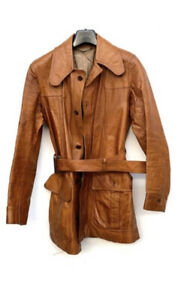 """Vintage 1970's Brown Leather Jacket From Lord John Of London Approx 38"""""""