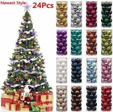 24Pcs Set 30-80mm Christmas Tree Baubles Shatterproof Glitter Xmas Decoration A+