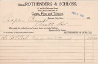 U.S. ROTHENBERG & SCHLOSS,1903 Kansas City Cigars Pipes+Tobacco Invoice Rf 44378