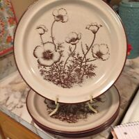 Vintage Noritake Stoneware Desert Flowers Dinner Plates 10.5 Inch Set Of Four