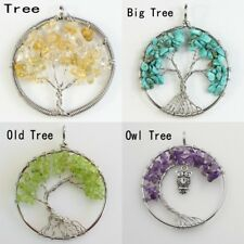 Amethyst Lapis Lazuli Chip Beads Chakra Tree of Life Owl Pendant Fits Necklace