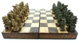 HANDMADE HANDCRAFTED RARE ANTIQUE CHESS SET - HAND CARVED SOAPSTONE AND WOOD