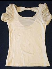 Forever 21 Super Cute Shirt Lace On Arms Size Small Color White
