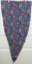 TERRIART Black,Royal,Pink,Green Dots,Curved Hem Silky 44x22 Wrp/Lg Scarf-Vintage