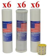 """18 Ersatzfilter 10"""" - 6 x Polypropylen -1µ, 6x Polypropylen - 5µ, 6x Aktivkohle"""