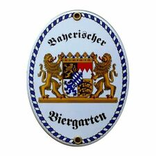 Bayerischer Biergarten Emaille Schild- Größe ca 15 x 12 cm.