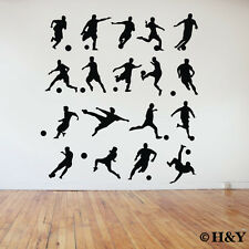 18 Pcs Soccer Football Players Wall Art Stickers Removable Vinyl Sports Decal