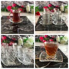 12pc Designer Glass Turkish Arabic Tea Coffee Serving Set Saucers cups set of 6