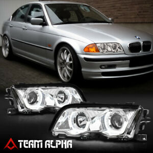 Fits 1999-2001 BMW E46 3-Series{DUAL 3D LED HALO}Chrome Projector Headlight Lamp