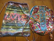 JUSTICE GIRLS BACKPACKS, LOT OF 2, SEQUINED, EUC
