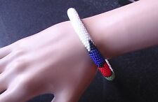childs African tribal beaded bangle bracelet white hand made Zulu jewellery