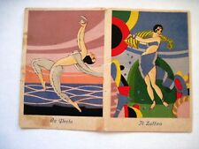 Small Art Deco Page From An Italian Calendar w/ Lovely Women -Pearl & Sapphire *