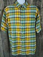 Woolrich Mens Button Down Shirt Size L Multi-Color Plaid Cotton Short Sleeve