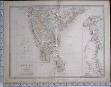 1881 Large Antique Map India South Feuille Ceylan Malay British Burma Madras