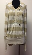 FREE PEOPLE Anthropologie Rugby Stripe Henley Hooded Zip Pullover Top Small