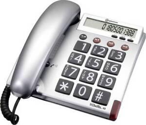 Audioline BigTEL 48 , silber schnurgebundenes Senioren Telefon