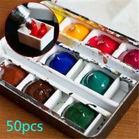 50pcs Plastic Watercolor Empty Half Paint Pans box Artists Palette Craft 2ml ♫