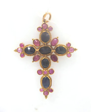 18 kt yellow gold Cross with rubies and sapphires br