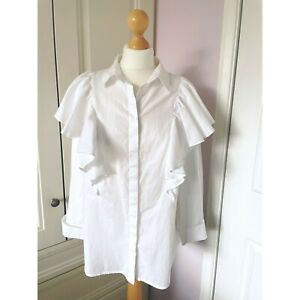 """White Ruffle Blouse 3/4 Sleeves Turnback Cuffs by Limited Edition L XL 46"""" Chest"""