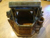 Vintage McCoy Glazed Ceramic Wishing Well Planter Pottery w/ Original Chain  226