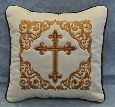"""Embroidered Gold Cross Pillow made w Faux Cream Suede Fabric 12"""" trim Brown cord"""