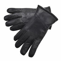 Mens Gents Luxury Genuine Soft Nappa Leather Gloves Sheepskin Lining Black