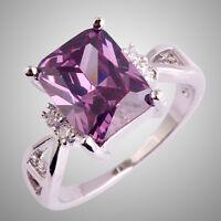 Lady Jewelry Amethyst & White Topaz Gemstone 925 Silver Ring Size  L N P R T V