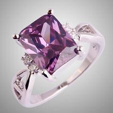 Lady Jewelry Set Amethyst White Topaz Gemstone Silver Ring Emerald Cut Delicate