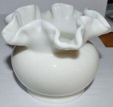 Vintage Fenton Milk Glass Small Ruffled Edge Bowl Vase