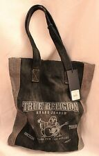 NWT TRUE RELIGION ARCH LOGO DENIM BLACK JEAN TOTE BAG SHOPPER PURSE