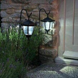 2PCS Solar LED Shepherd Style Hanging Garden Lantern Coach Outdoor Lamp Lights