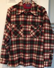 Vtg Pendleton Board Shirt Mens M Wool Shadow Plaid Loop Collar Wear W Pleasure