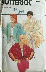 Vtg 80's Butterick 4658 Cover-Ups & Shawl Pattern sz M Medium UNCUT Jacket