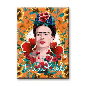 Frida Kahlo Orange / Blumig Flach Kühlschrank Magnet (NM)