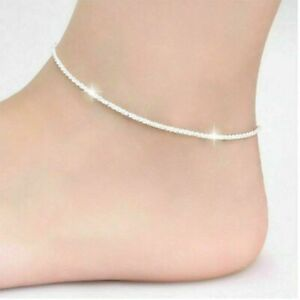 925 Sterling Silver Chain Ankle Bracelet Barefoot Beach Anklets Rope Chain